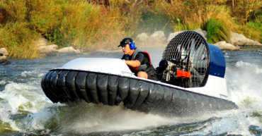 Hovercraft on rapid river